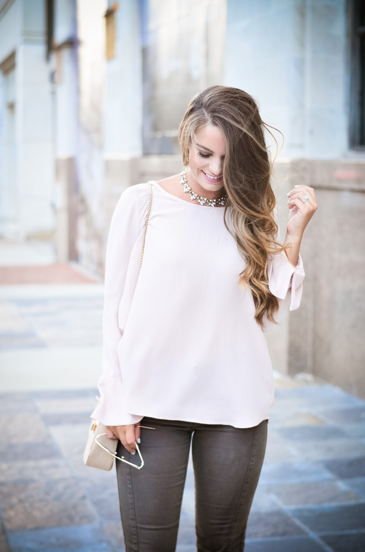 Pink bell sleeve shirt hello alley-27