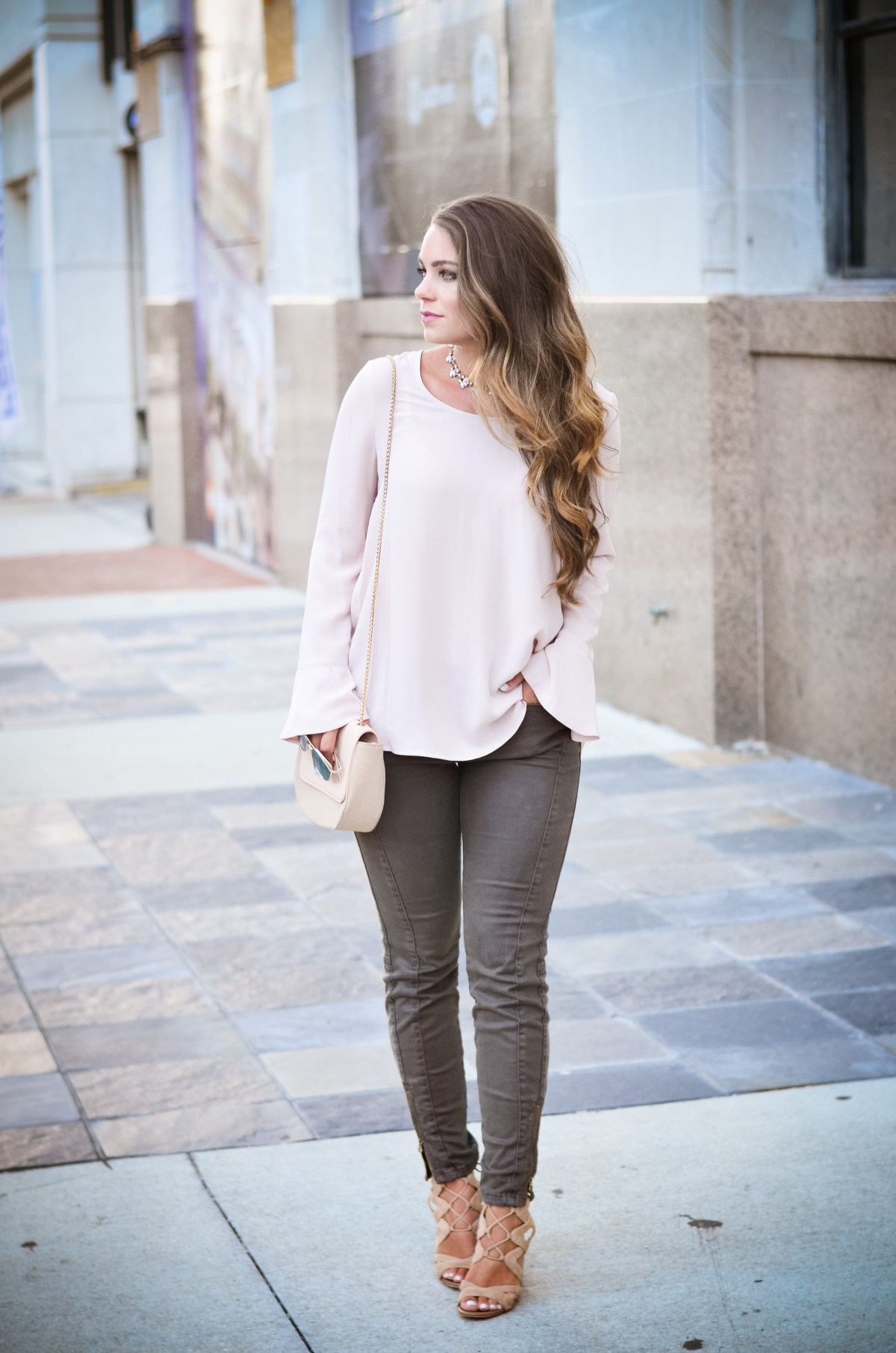Pink bell sleeve shirt hello alley-9