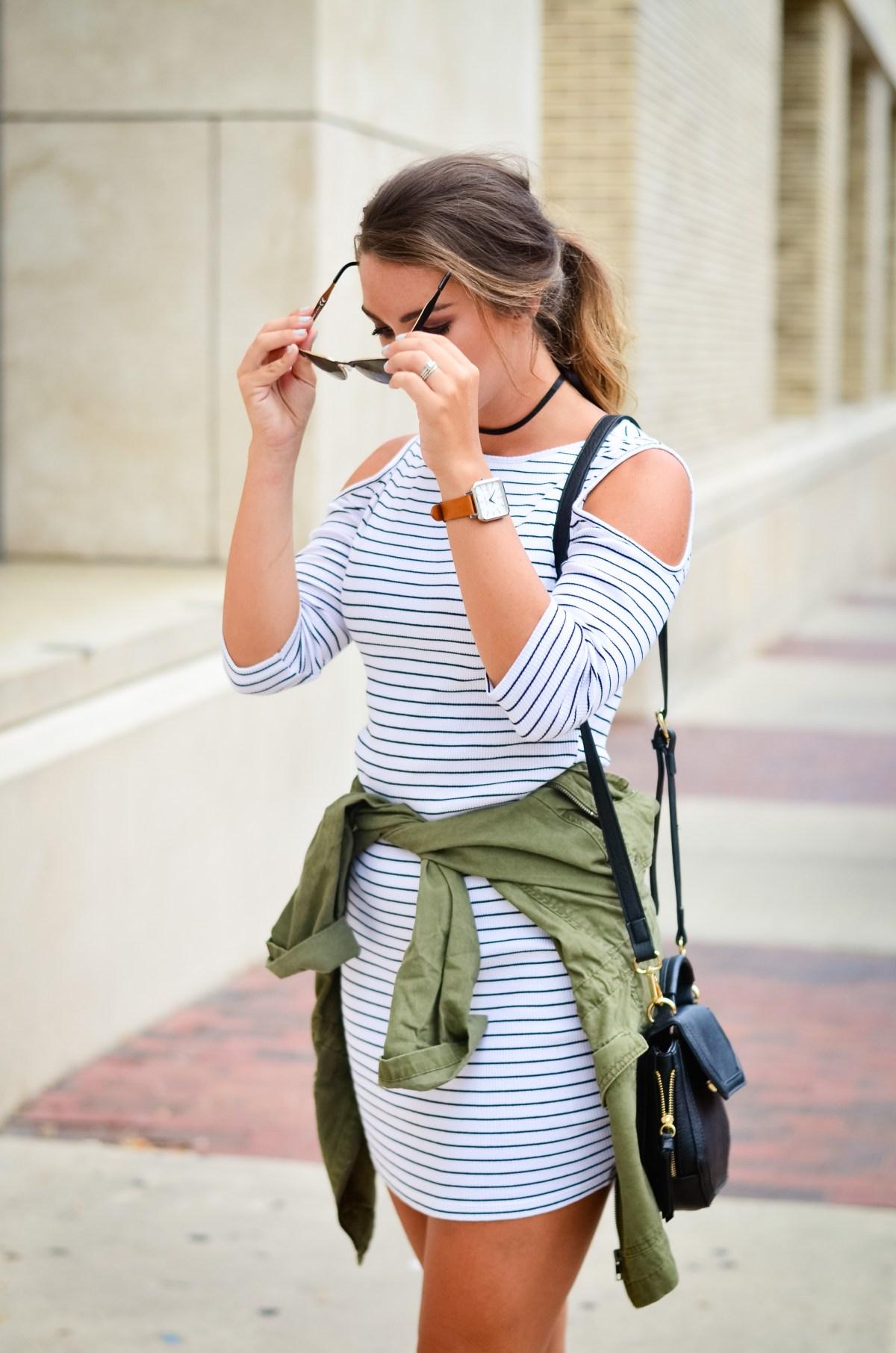 Stripe Dress Cargo Jacket Hello Alley -23