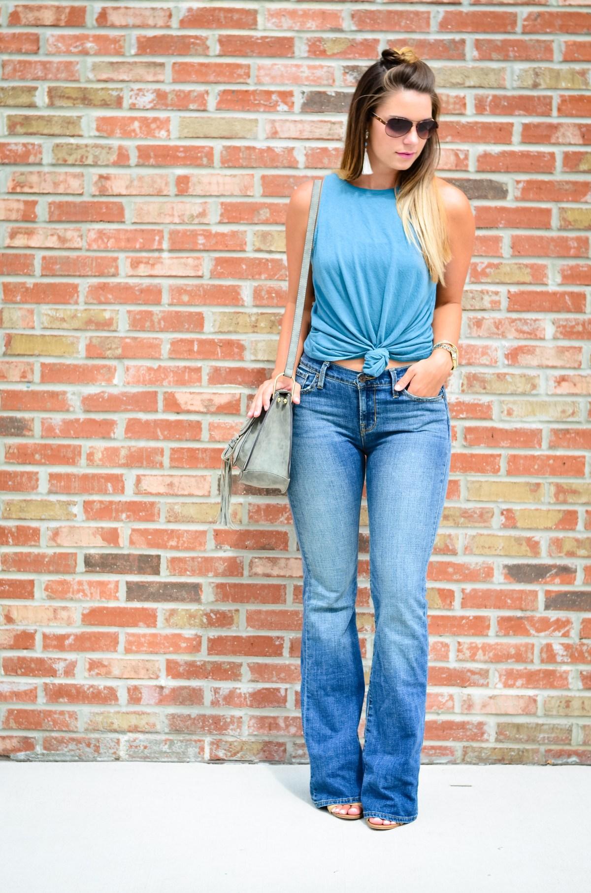 flare jeans blue tank -4