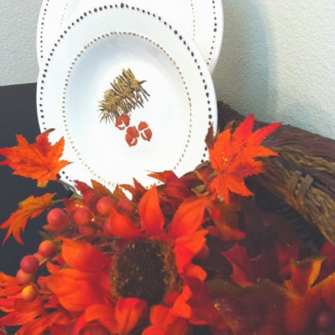 DIY Thanksgiving Dishes using food safe craft paint & Dollar Store dishes!