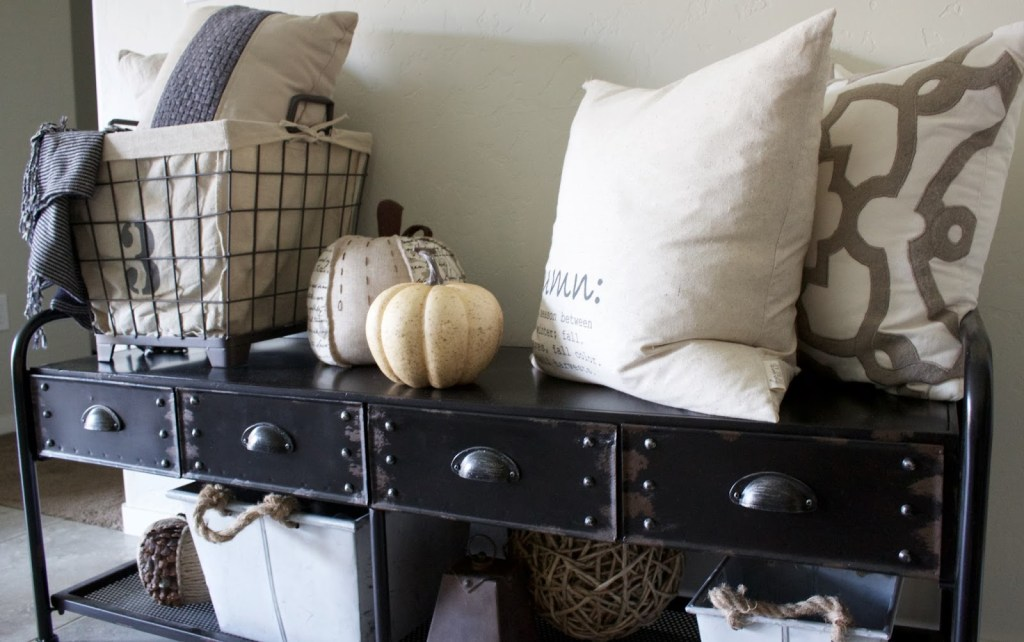Fall Entryway - neutral fall theme, white pumpkins & wheat!