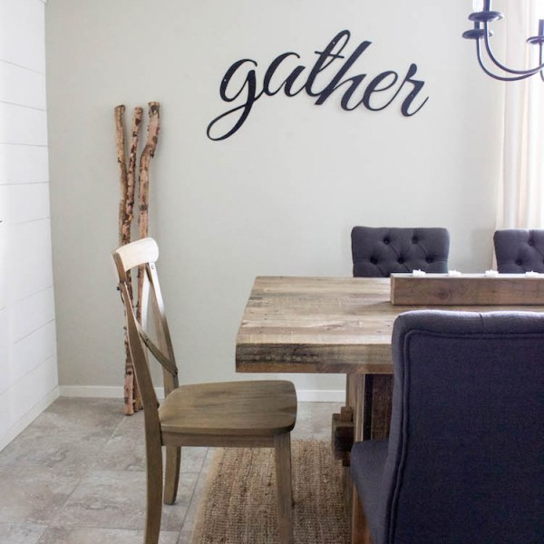 Simple Fall Decor and Gather sign | helloallisonblog.com