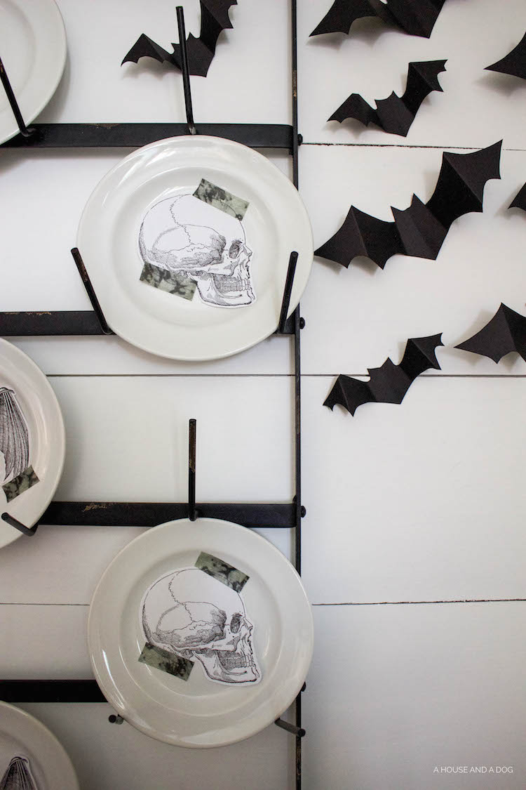 Halloween Dining Room & Bat Wall DIY | helloallisonblog.com