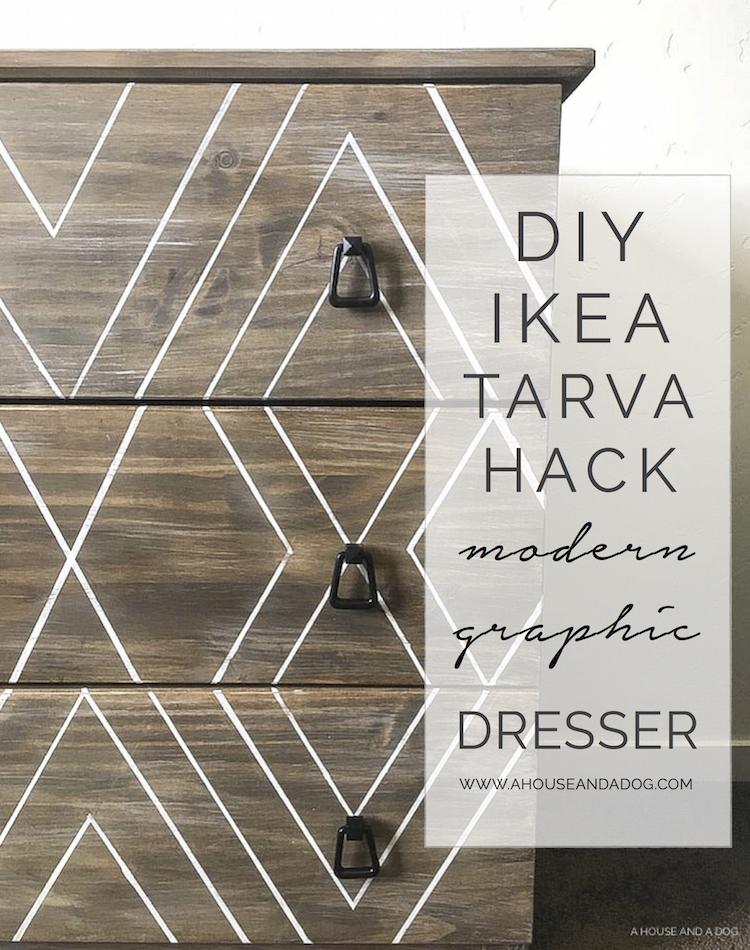 DIY Ikea Hack - Modern Graphic Tarva Dresser | One Room Challenge | helloallisonblog.com