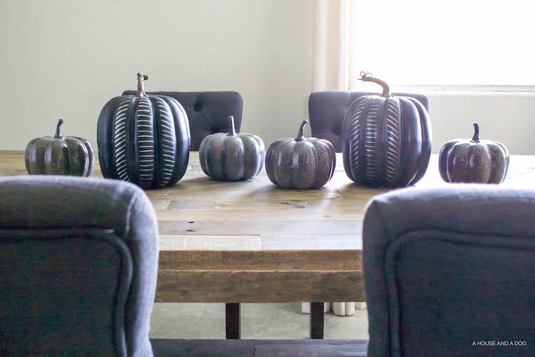 DIY Modern Black Pumpkin - Halloween Craft, Simple Halloween Tablescape | helloallisonblog.com