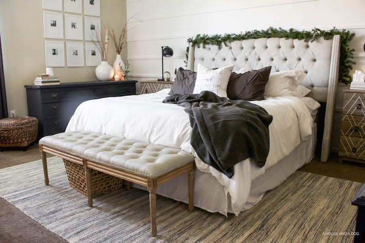 Simple White & Gray Christmas Bedroom 2016 | helloallisonblog.com