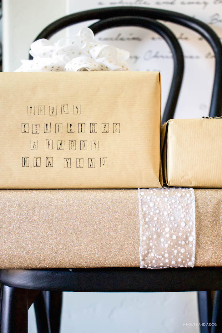 DIY Wrapping Paper - Christmas Tutorial with Stamps | helloallisonblog.com