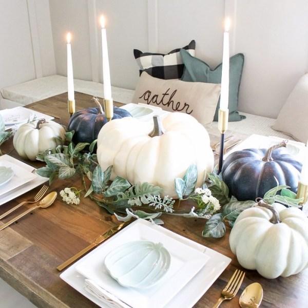 Blue + Green Pumpkin Tablescape