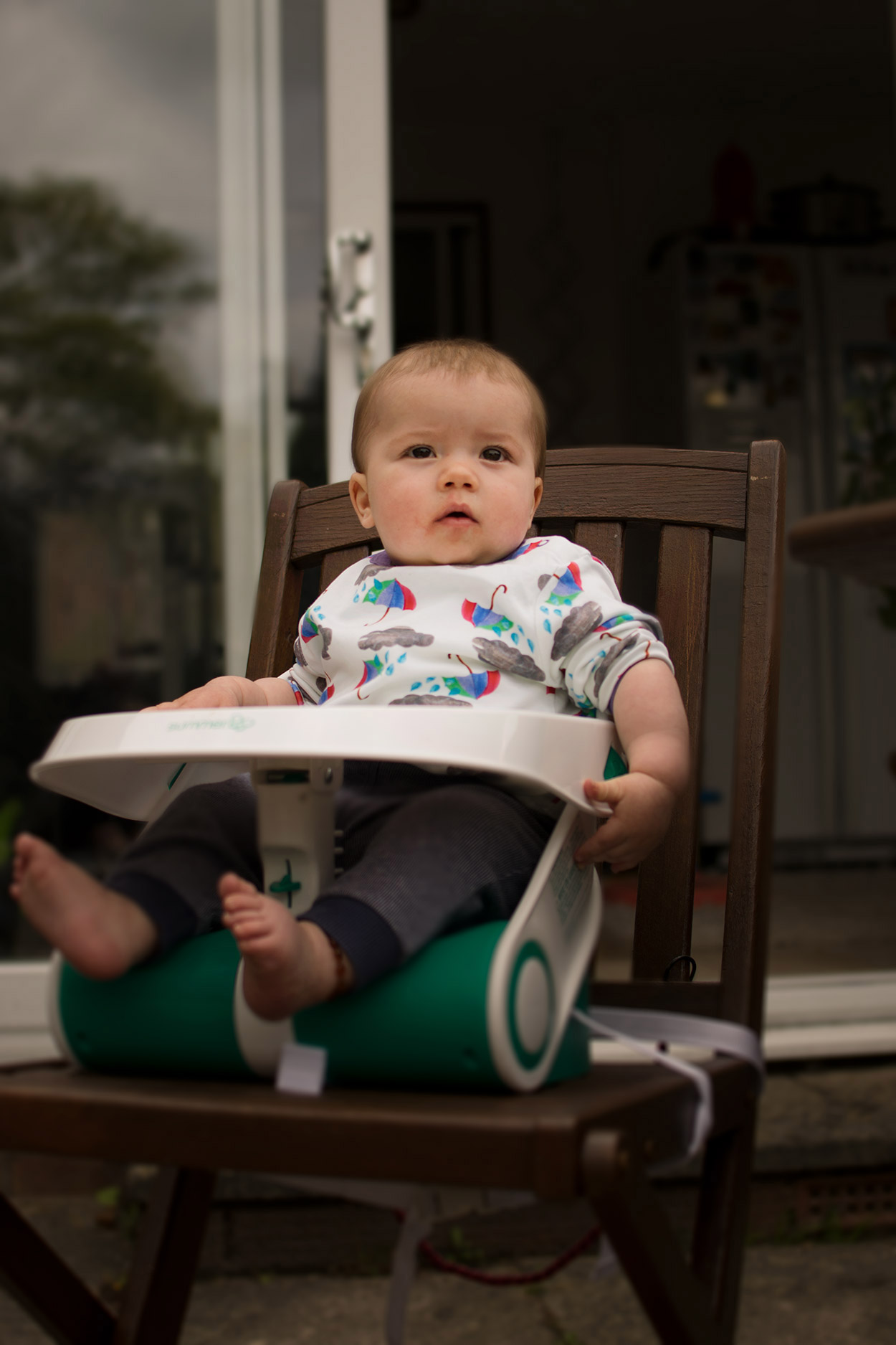 portable high chair booster adirondack and ottoman set review summer travel seat hello archie 9 month old baby boy sitting in his