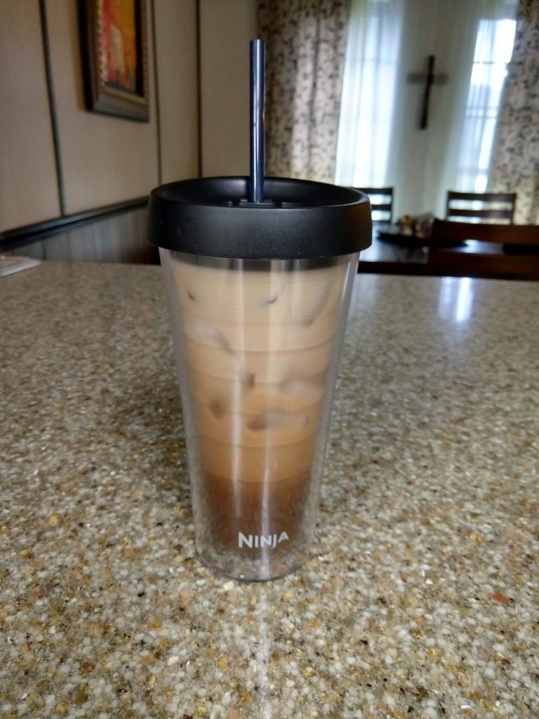 Frugal living at home iced coffee - 1 cup coffee, 1 cup ice, 2 tablespoons creamer of your choice. Pennies on the dollar compared to coffee out! #frugalliving