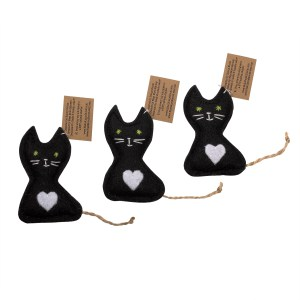 Black and white organic catnip kitty toy