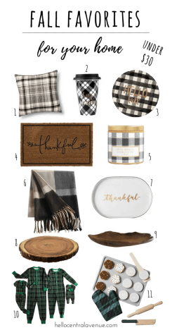 Fall Favorites for your home- plaid, brass, wood decor