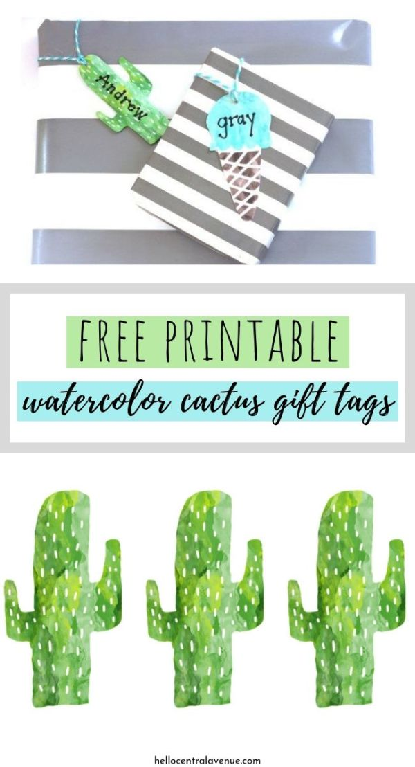 Free printable watercolor cactus gift tags in a bright green color on gray and whit wrapping paper.