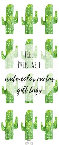 Free watercolor cacti gift tags