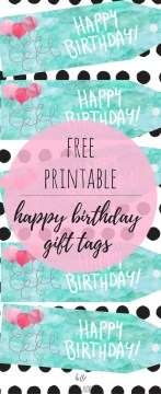 FREE Watercolor Happy Birthday Gift Tags