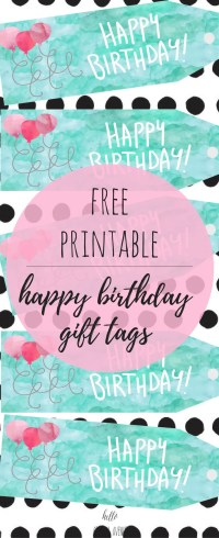 Watercolor happy birthday gift tag with balloons