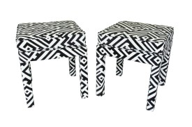 Black and white geometric Thomasville stool