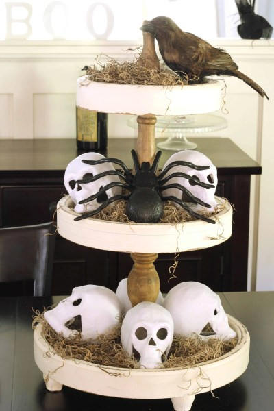 Cheap Halloween decorations-skulls, spiders, moss