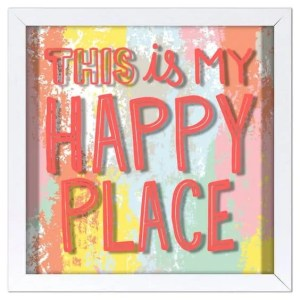 This is my happy place screen printed glass art