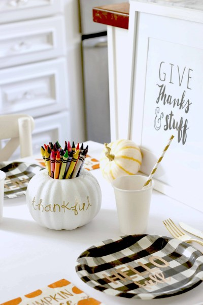 Thanksgiving Kids Table for the cool kids-target paper products, crayons for drawing on the table