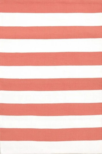 Annie Selke outlet coral and white striped rug