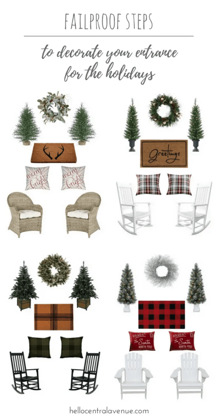 How to decorate your front porch for the holidays-fail proof way to decorate for Christmas