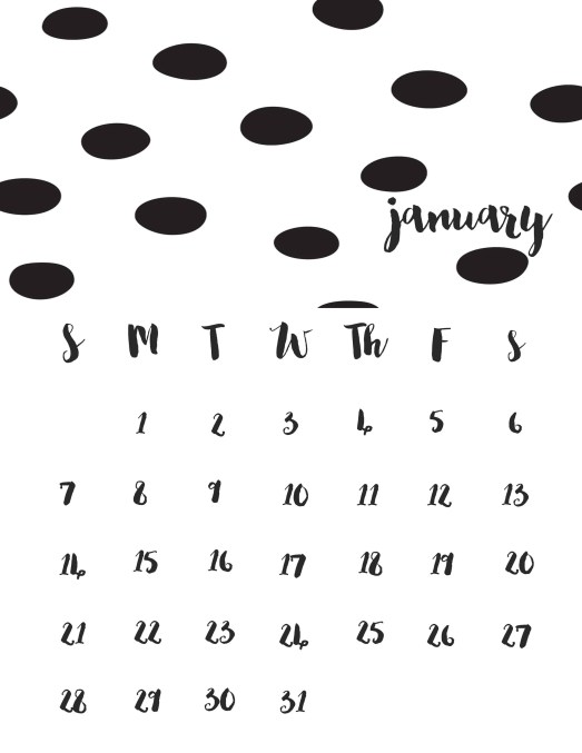 FREE chic and simple Printable 2018 calendar to keep you organized in the new year