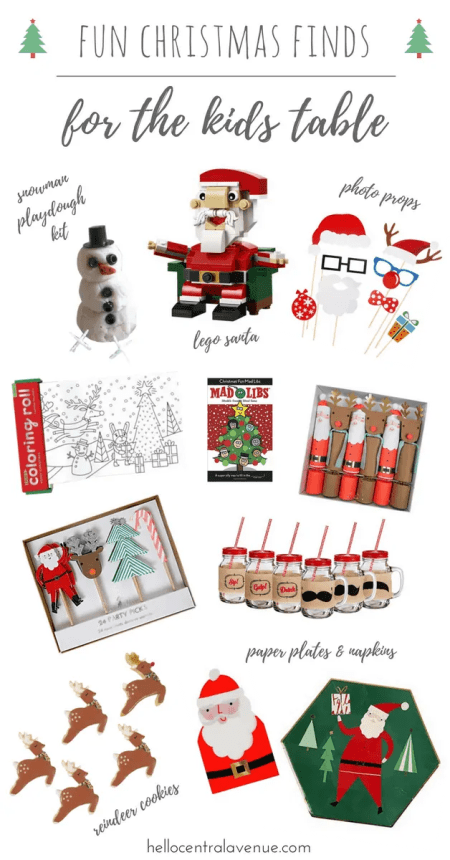 Fun activities, cool dinnerware, and tasty treats fill the kids table for Christmas