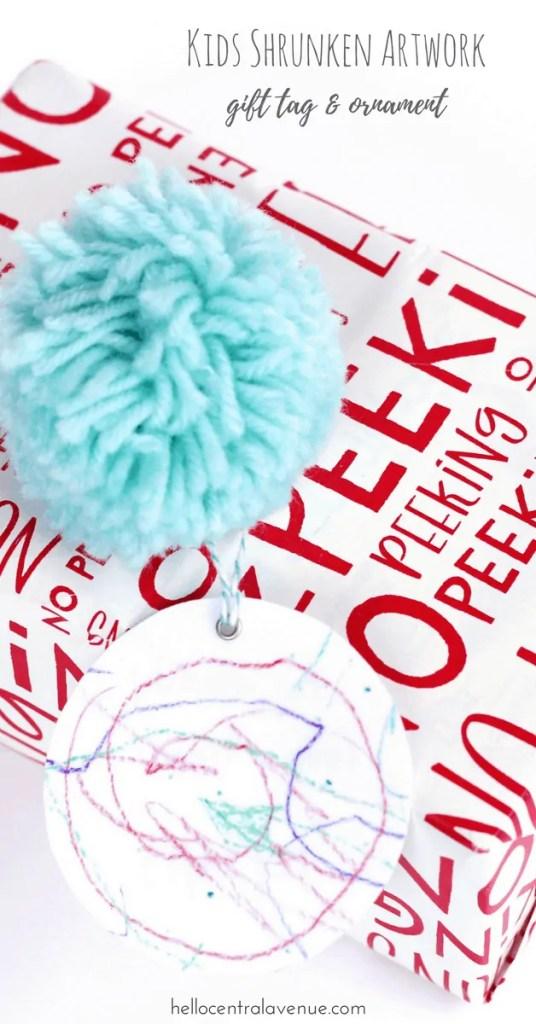 DIY-Kids' Shrunken Artwork Gift Tags & Ornament