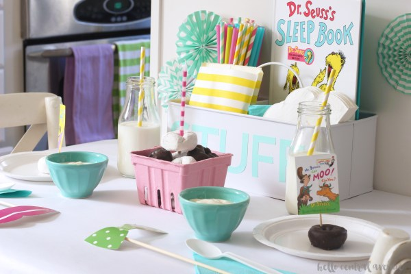 Here is a colorful tabletop to celebrate Dr. Seuss' birthday and Read Across America. This could easily be made into a birthday party or baby shower theme.