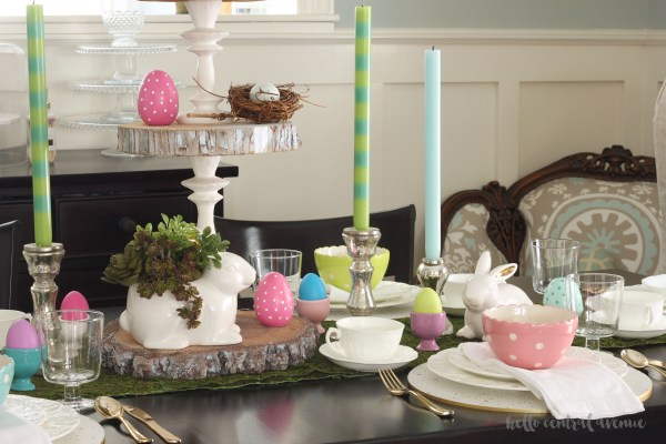 This Easter tablescape combines rustic with a cheerful pop of color for spring!