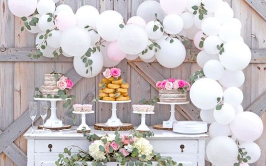 White and pink balloon garland by Lillian Hope Designs-inspiration for first communion party balloon garland