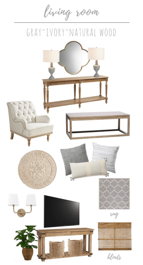 Living Room Refresh: Gray, Ivory, & Natural Wood