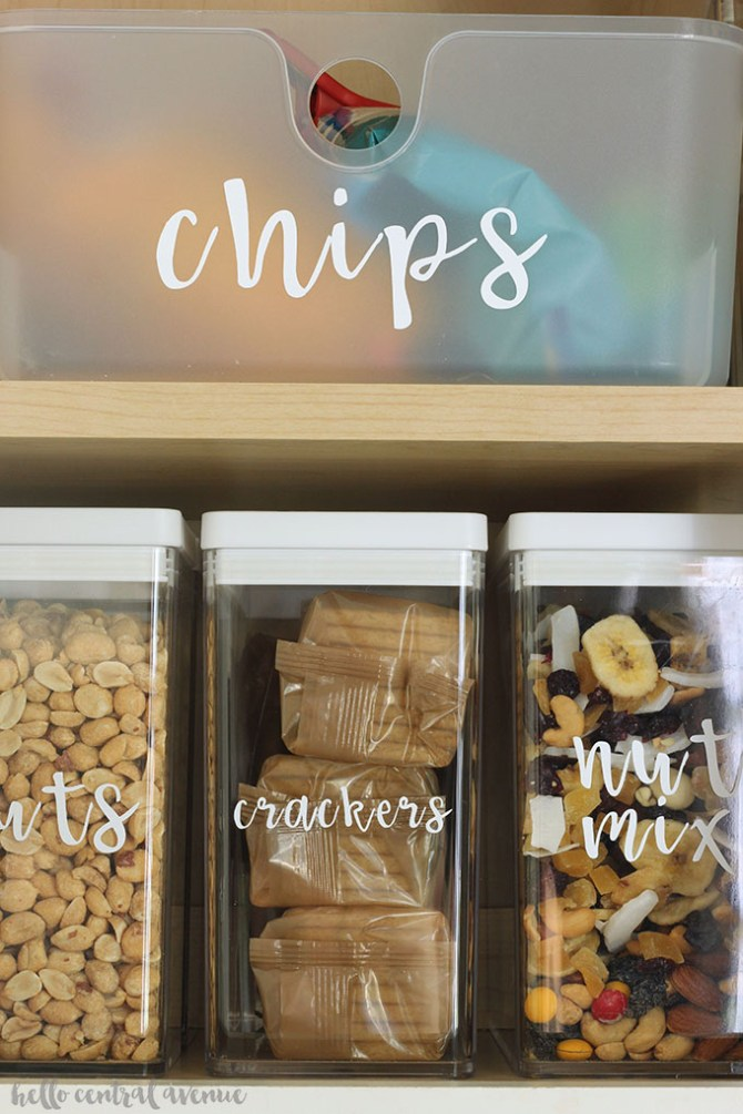 It's a great idea to get rid of packaging and put your food directly in air-tight storage containers to save room in your kitchen!  Take it a step further and label your storage containers for beautiful and organized cabinets or pantry shelves!