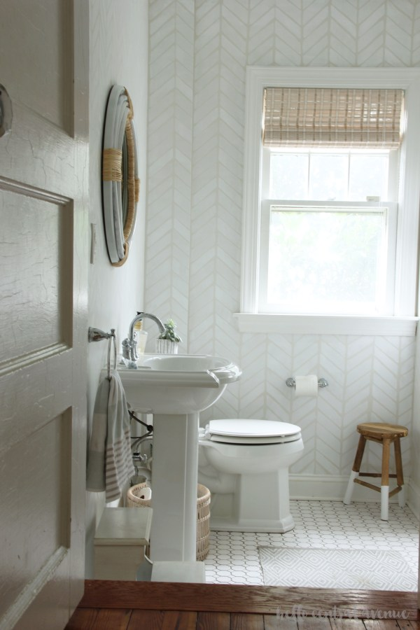 """It is reveal week in the """"$100 Room Challenge!"""" This week was full of DIY projects! I almost didn't make the deadline, but luckily some small changes to my plan helped me complete my powder room refresh! Take a look below at the before and after pictures!"""