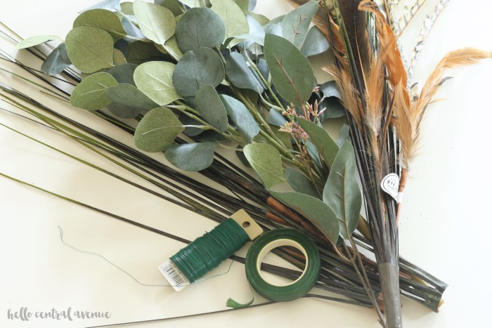 Here are the supplies needed for the DIY faux eucalyptus garland for Thanksgiving decor.