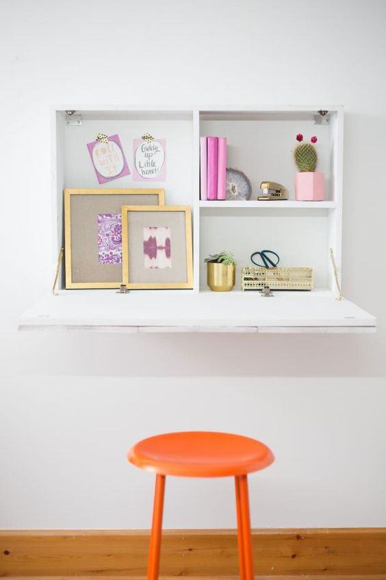 One of the greatest ways to get a work space in a small room is to use a wall desk! These desks save you space and several of them provide storage as well! Whether you buy one or DIY one, they are a fantastic small space solution!