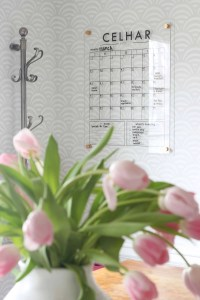 Keeping your family organized is no small feat! I just installed this acrylic wall calendar for my family command center to keep track of all of our schedules. It's not only efficient, but it's also gorgeous! Using the wall as a place to get organized is a great way to take advantage of space!