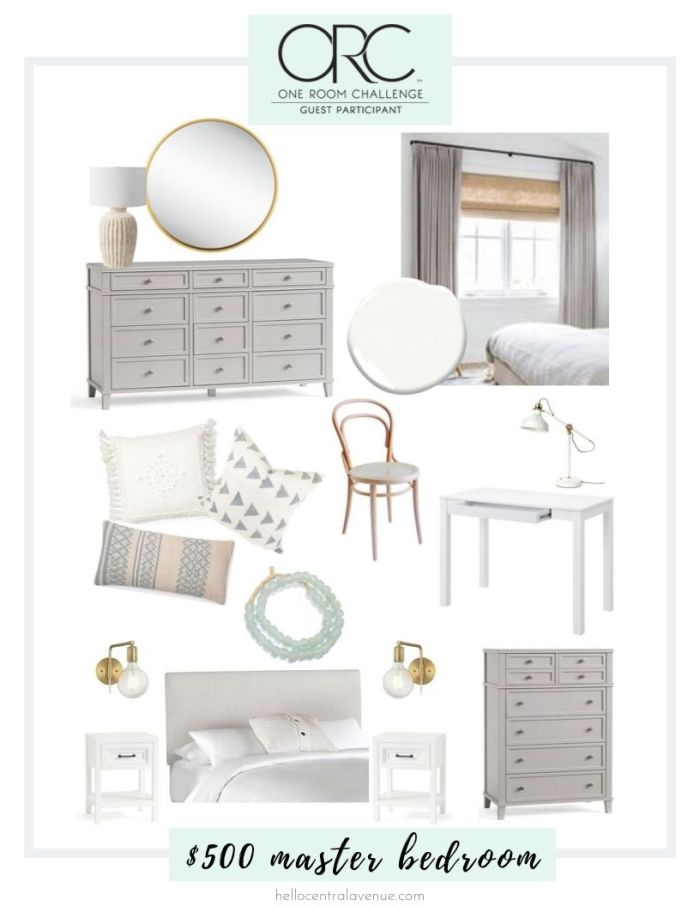 One Room Challenge style board for $500 master bedroom update on a budget