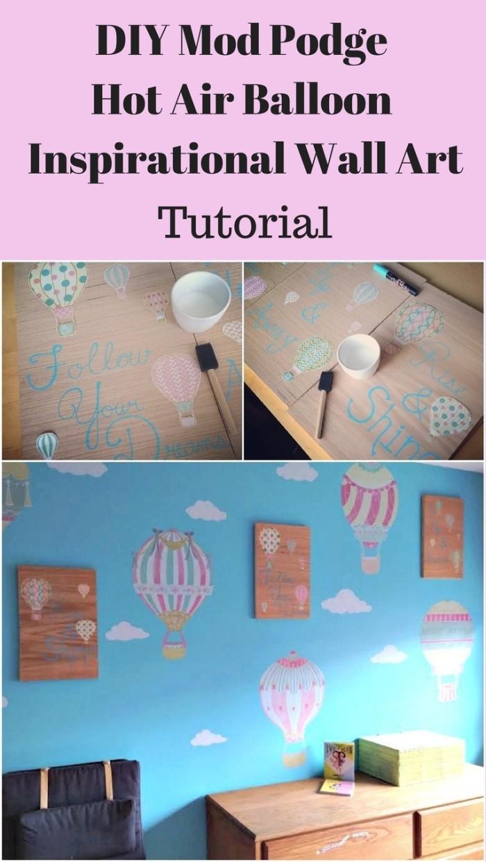 DIY Mod Podge Hot Air Balloon Inspirational Wood Wall Art