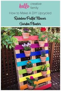 Make Diy Upcycled Rainbow Pallet Flower Garden