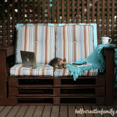 Diy Sofa From Pallets Beds With A Chaise Dads Outdoor Pallet Couch Weekend Project Hello Creative Learn To Make Patio Furniture This