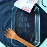 DIY Etched Glass Casserole Dish Made With The Cricut + Cricut Giveaway