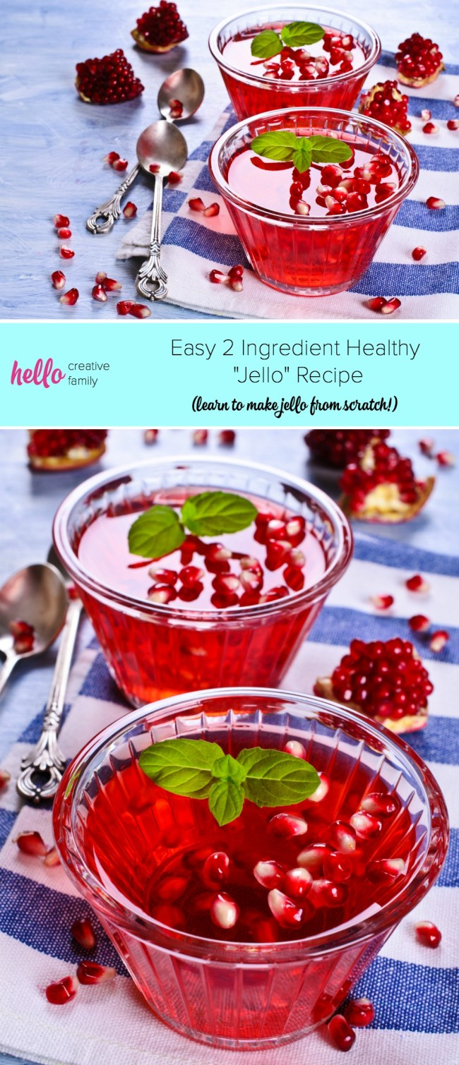 """Making """"jello"""" from scratch is easy! You need just two ingredients to make this healthy jello recipe. This homemade dessert idea is kid friendly and mom approved! Make strawberry jello, apple jello, pomegranate jello and more! #dessert #realfood #homemade #realfood"""
