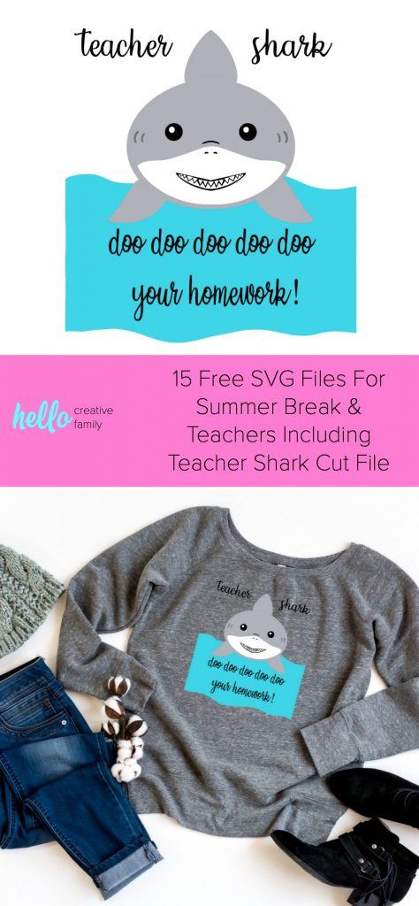 Baby Shark Free Svg : shark, Teacher, Files, Including, Shark, Hello, Creative, Family