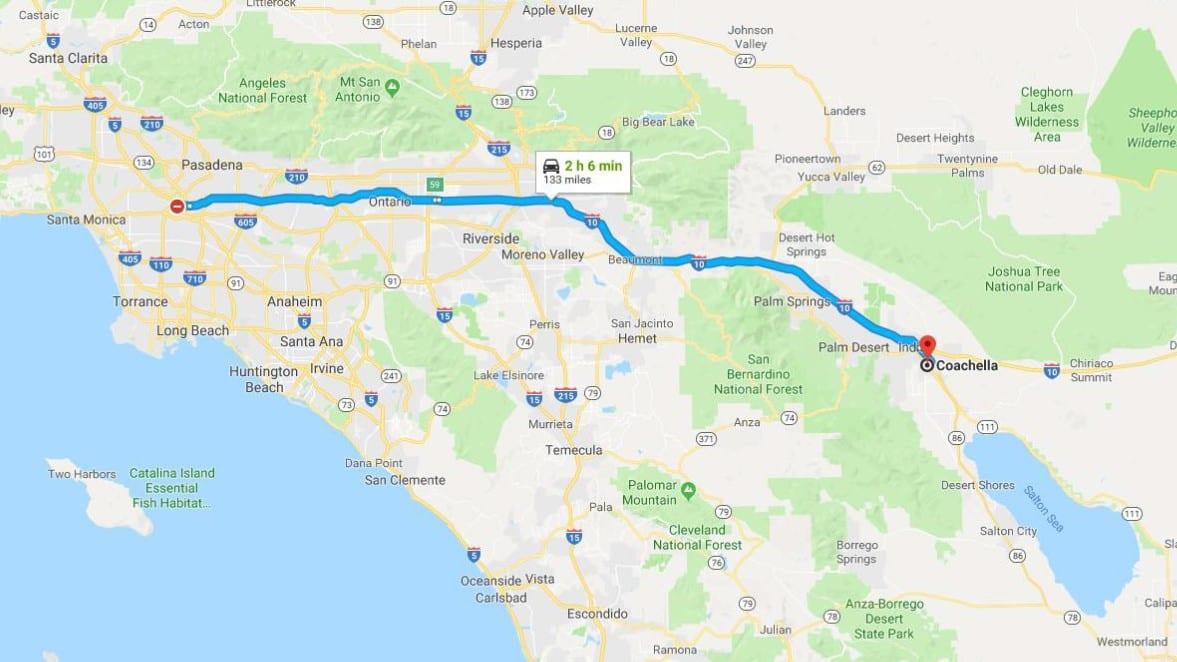 LA to Coachella route map