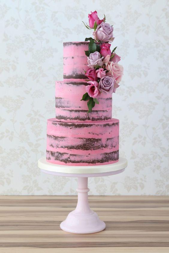 pink semi-naked wedding cake