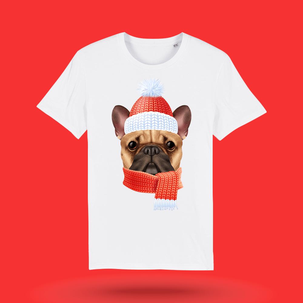 Tricou-personalizat-alb-barbati-Craciun-tricou de craciun-Winter-Bulldog