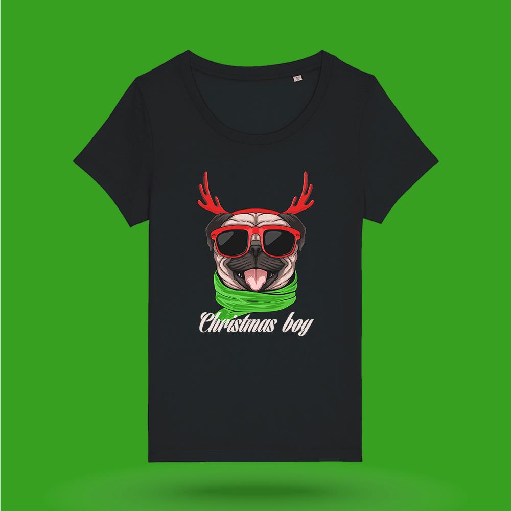 Tricou-personalizat-negru-femei-Craciun-tricou de craciun-Christmas-Boy